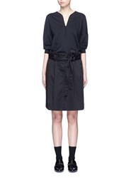 3.1 Phillip Lim French Terry Twill Combo Belted Utility Dress Black