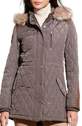Lauren Ralph Lauren Women's Quilted Anorak With Faux Fur Trim Flannel