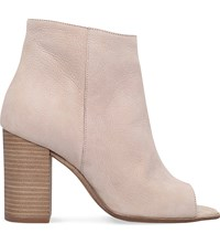 Carvela Accord Nubuck Leather Peep Toe Ankle Boots Bone