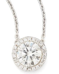Nm Diamond Collection 18K White Gold Solitaire Pendant Necklace With Pave Halo 1.01Ctw H Si1