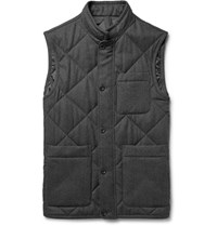 Dunhill Quilted Melange Wool Twill Gilet Charcoal