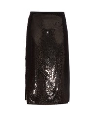 Rochas High Waisted Sequin Midi Skirt Black