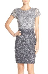 Adrianna Papell Women's Sequin Colorblock Sheath Dress Silver Gunmetal