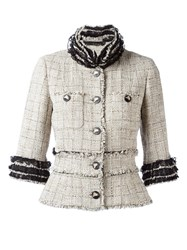 Chanel Vintage Fringed Tweed Jacket Nude And Neutrals