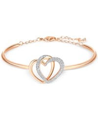 Swarovski Rose Gold Tone Crystal Pave Interlocking Double Heart Bangle Bracelet