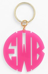 Women's Moon And Lola Personalized Monogram Key Chain Pink Hot Pink