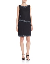 J Kara Flapper Embellished Dress Black Gunmetal