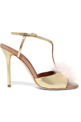 Malone Souliers Betsy Cashmere And Metallic Leather Sandals Gold