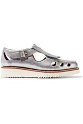 Grenson Ethel Metallic Textured Leather Loafers Silver