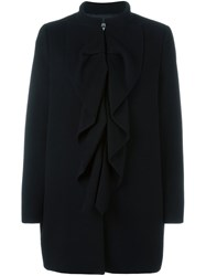 Boutique Moschino Ruffle Detail Coat Black
