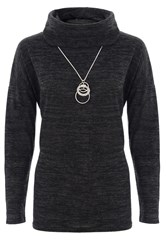 Quiz Charcoal Light Knit Necklace Top