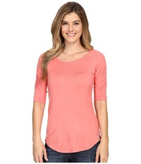 Columbia Lumianation Elbow Sleeve Shirt Coral Bloom Women's Short Sleeve Pullover Orange