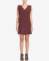 Cece Harper Ruffled Drop Waist Shift Dress Plum