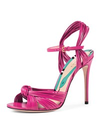 Gucci Allie Strappy Knotted Leather Sandal Rose
