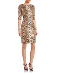 Carolina Herrera Cheetah Print Stretch Cotton Sheath Dress Black Camel