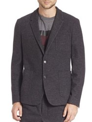 Ami Alexandre Mattiussi Unconstructed Two Button Wool Blend Jacket Anthracite