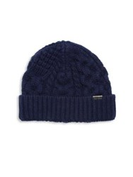 Burberry Cable Knit Cashmere Blend Beanie Dark Navy