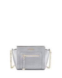 Furla Ginevra Leather Mini Crossbody Bag Silver
