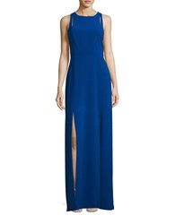 Halston Sleeveless Cutout Gown Royal Blue