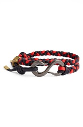 Giles Brother Braided Wrap Bracelet Black And Red Hematite Brass