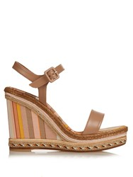 Valentino 1975 Leather Wedge Sandals