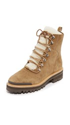 Sigerson Morrison Isa Shearling Lace Up Booties Tobacco Natural