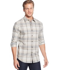 Tasso Elba Moors Long Sleeve Brushed Cotton Plaid Shirt Oatmeal Combo