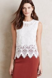 Anthropologie Scalloped Lace Tank White