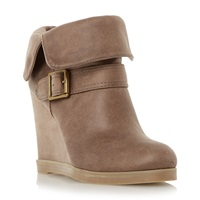 Head Over Heels Pindar Fold Down Wedge Heel Ankle Boots Taupe