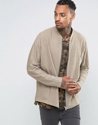 Asos Super Oversized Jersey Bomber Jacket With Textured Panels Tawny Beige