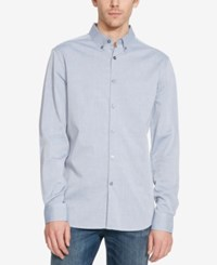 Kenneth Cole Reaction Men's Stripe Long Sleeve Shirt Blue Moon Combo
