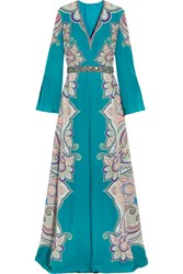 Etro Embellished Paisley Print Silk Gown Teal