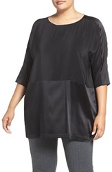 Eileen Fisher Plus Size Women's Scoop Neck Silk Crepe De Chine Top