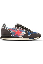 Golden Goose Printed Canvas And Suede Sneakers Blue