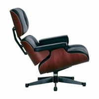 Eames Lounge Chair Black Leather Cherry Frame