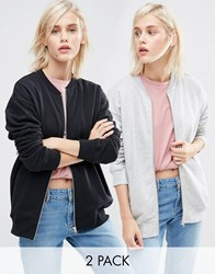 Asos The Ultimate Bomber Jacket In Jersey 2 Pack Black Grey Marl Multi