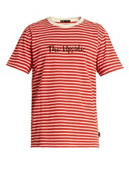 The Upside Scribble Crew Neck Cotton Jersey T Shirt Red Stripe