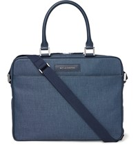 Want Les Essentiels Haneda 15 Leather Trimmed Canvas Briefcase Storm Blue