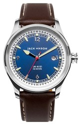 Men's Jack Mason Brand Nautical Leather Strap Watch 42Mm Navy Brown