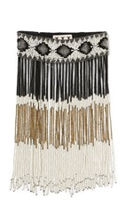 Haute Hippie Beaded Fringe Necklace Antique Ivory