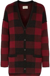 Current Elliott The V Neck Checked Wool And Cotton Blend Cardigan Red