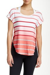 Pink Lotus Caution Scoop Neck Striped Top Blue