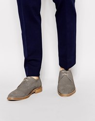 Reiss Ted Suede Derby Shoes Grey