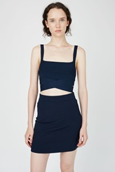 Alexander Wang Rayon Knit Criss Cross Tank Top Midnight