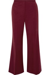 Rosetta Getty Cropped Wool Blend Twill Flared Pants Burgundy
