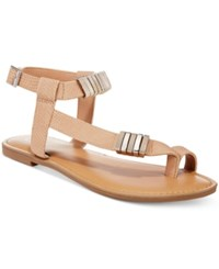 Bar Iii Verna Embelished Flat Sandals Only At Macy's Women's Shoes Beige