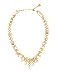 Majorica Golden Chain Link Pearl Drop Necklace Women's