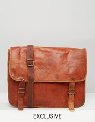 Reclaimed Vintage Leather Messenger Bag In Tan Brown
