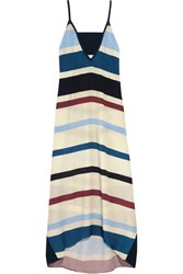 Flagpole Swim Erica Striped Crepe De Chine Dress Off White Blue