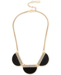Kenneth Cole New York Gold Tone Black Faux Leather And Pave Collar Necklace